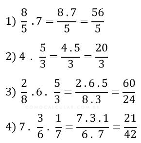 Exemplo de multiplicação de fração com número inteiro