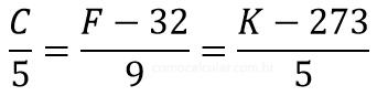Fórmula Celsius, Fahrenheit e Kelvin