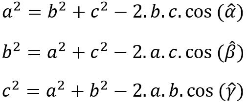 Fórmula lei dos cossenos