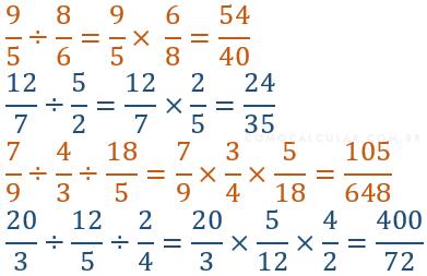 Exemplo de divisão de fração por fração